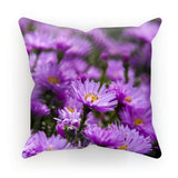 Beautiful Purple Flowers Cushion Linen / 18X18 Homeware