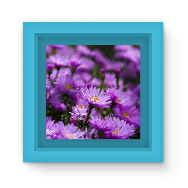 Beautiful Purple Flowers Magnet Frame Light Blue Homeware