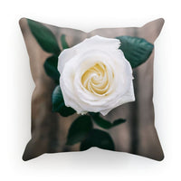 Beautiful White Rose Cushion Faux Suede / 18X18 Homeware
