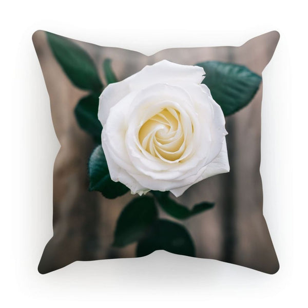 Beautiful White Rose Cushion Linen / 12X12 Homeware