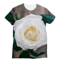 Beautiful White Rose Sublimation T-Shirt S Apparel