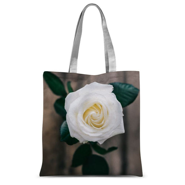 Beautiful White Rose Sublimation Tote Bag 15X16.5 Accessories