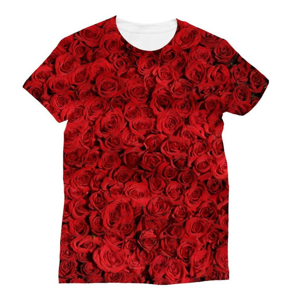 Bed Of Red Roses Sublimation T-Shirt Xs Apparel