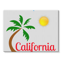 Bel Air California Palm Sun Stretched Eco-Canvas 24X18 Wall Decor