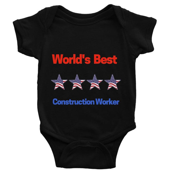Best Construction Worker Baby Bodysuit 0-3 Months / Black Apparel