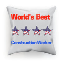 Best Construction Worker Cushion Faux Suede / 12X12 Homeware
