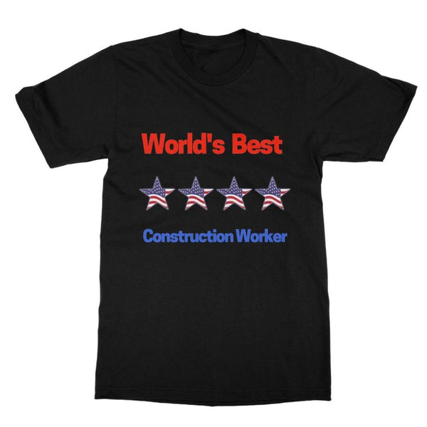 Best Construction Worker Softstyle Ringspun T-Shirt S / Black Apparel