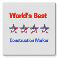 Best Construction Worker Stretched Canvas 14X14 Wall Decor