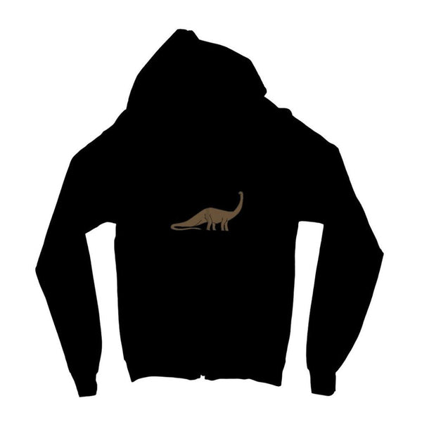 Big Brontosaurio Dinosaur Kids Zip Hoodie 3-4 Years / Jet Black Apparel