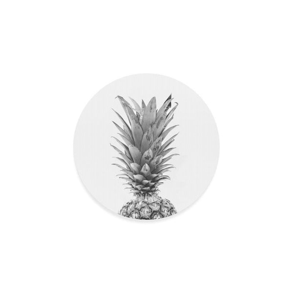 Black And White Pineapple Drink Beverage Round Coaster