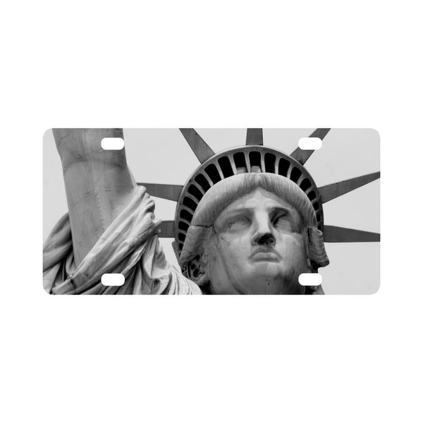 Black And White Statue Of Liberty Classic License Plate