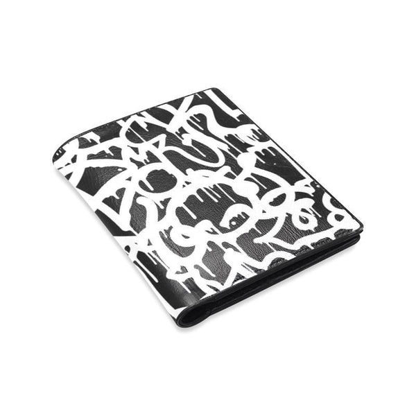 Black And White Urban Graffiti Street Style Pattern Mens Leather Wallet (1612)