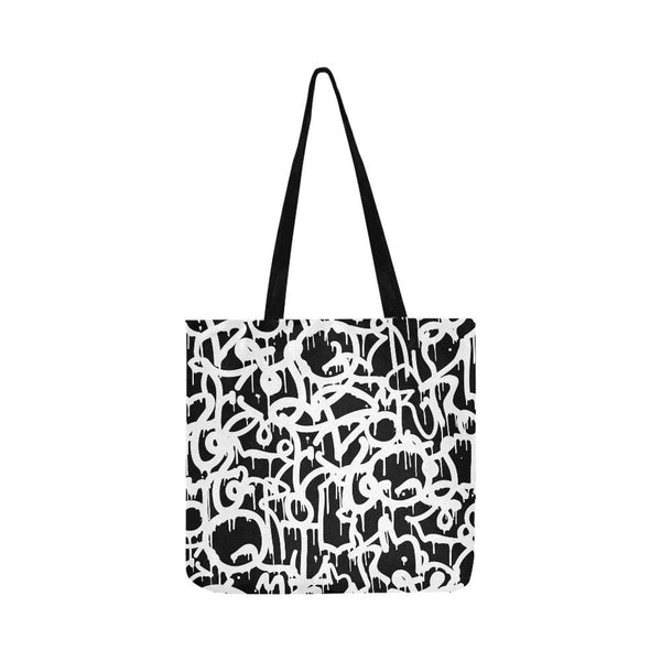 Black And White Urban Graffiti Street Style Pattern Reusable Shopping Bag (Two Sides) Tote (1660)