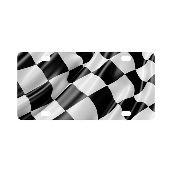 Black And White Waving Racing Car Flag Classic License Plate