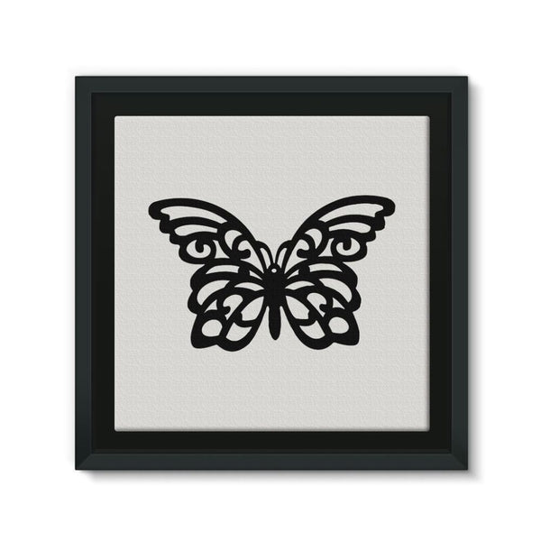 Black Swirl Butterfly Framed Canvas 12X12 Wall Decor