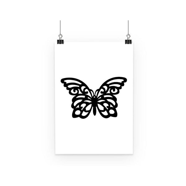 Black Swirl Butterfly Poster A3 Wall Decor