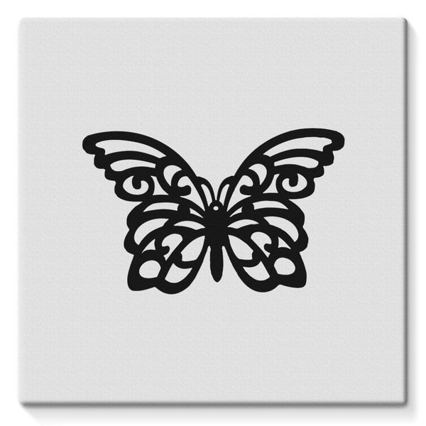 Black Swirl Butterfly Stretched Canvas 10X10 Wall Decor