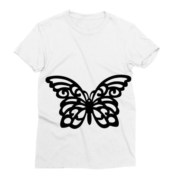 Black Swirl Butterfly Sublimation T-Shirt S Apparel
