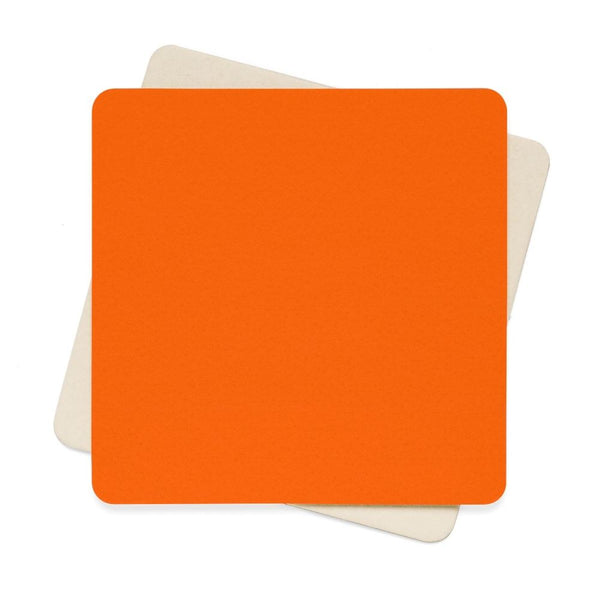 Blaze Orange Color Square Paper Coaster Set - 6Pcs 4 X In Home Decor