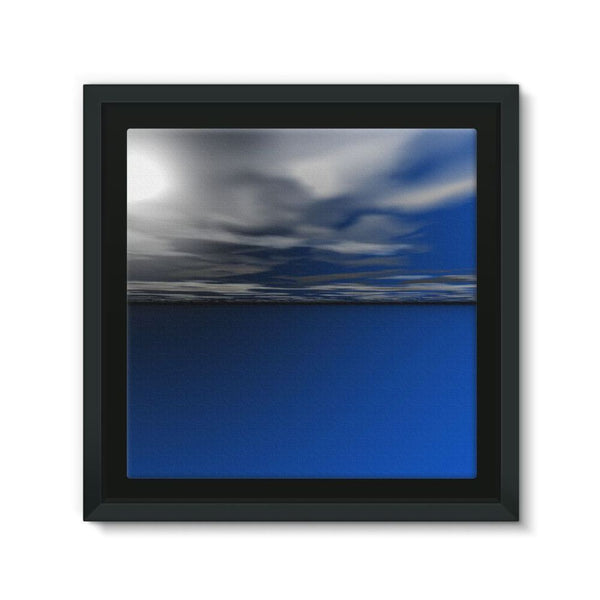 Blue Calm Ocean Water Framed Canvas 12X12 Wall Decor