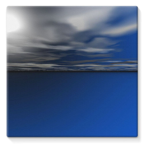 Blue Calm Ocean Water Stretched Canvas 10X10 Wall Decor