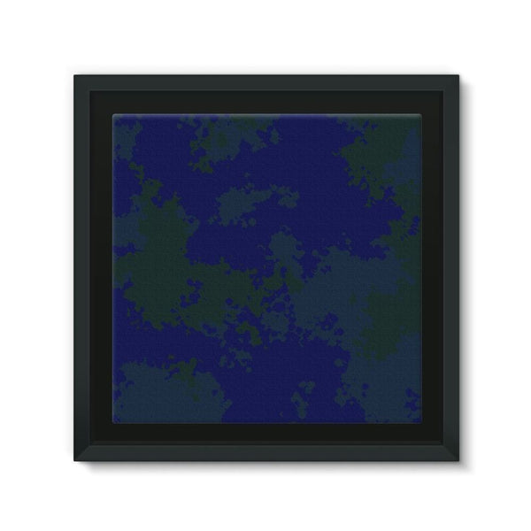 Blue Camouflage Pattern Framed Canvas 12X12 Wall Decor