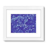 Blue Crystal Shape Pattern Framed Fine Art Print 32X24 / White Wall Decor