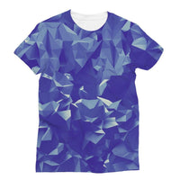 Blue Crystal Shape Pattern Sublimation T-Shirt S Apparel