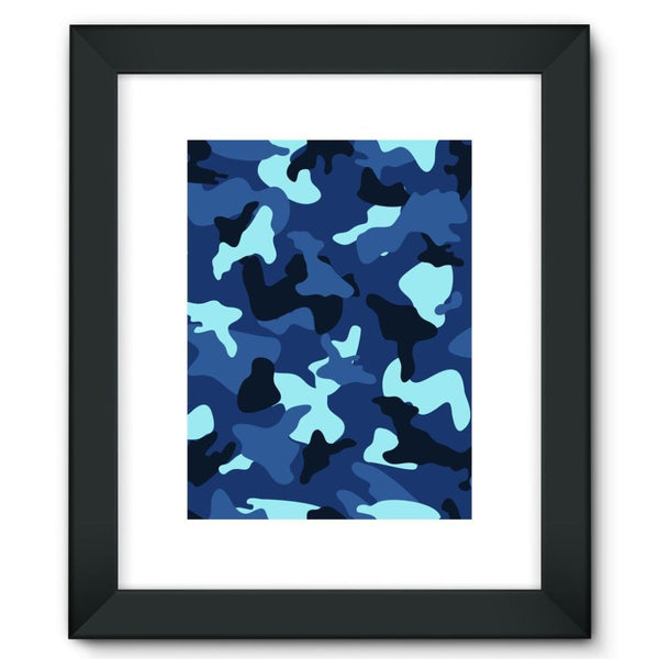 Blue Marine Army Camo Framed Fine Art Print 12X16 / Black Wall Decor