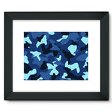 Blue Marine Army Camo Framed Fine Art Print 16X12 / Black Wall Decor