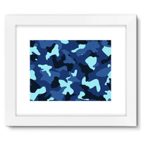 Blue Marine Army Camo Framed Fine Art Print 16X12 / White Wall Decor