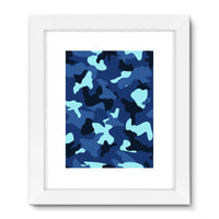 Blue Marine Army Camo Framed Fine Art Print 18X24 / White Wall Decor