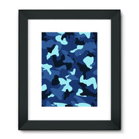 Blue Marine Army Camo Framed Fine Art Print 24X32 / Black Wall Decor