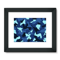 Blue Marine Army Camo Framed Fine Art Print 32X24 / Black Wall Decor