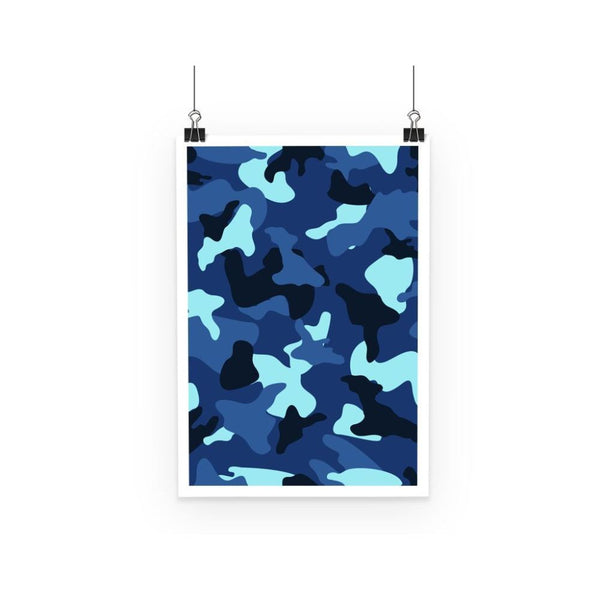 Blue Marine Army Camo Poster A3 Wall Decor