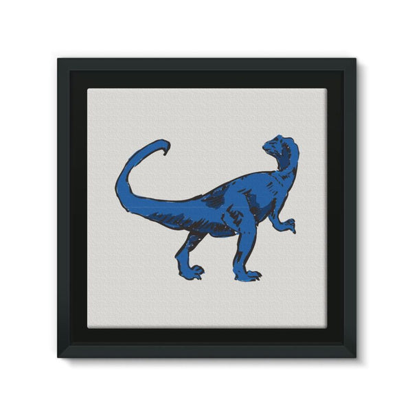 Blue Tiranosaurio Dinosaur Framed Canvas 12X12 Wall Decor