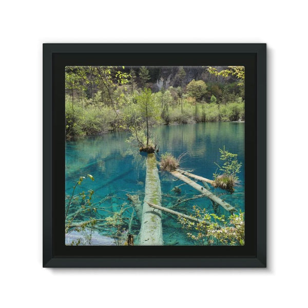Blue Water Lake Framed Canvas 12X12 Wall Decor