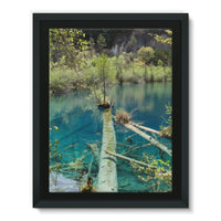 Blue Water Lake Framed Canvas 24X32 Wall Decor