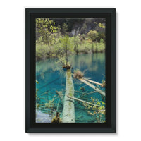 Blue Water Lake Framed Canvas 24X36 Wall Decor