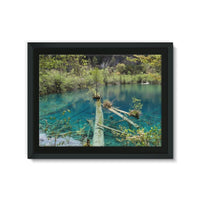 Blue Water Lake Framed Canvas 32X24 Wall Decor