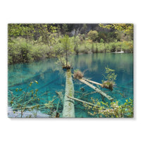 Blue Water Lake Stretched Canvas 16X12 Wall Decor