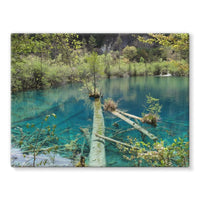 Blue Water Lake Stretched Canvas 24X18 Wall Decor