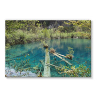 Blue Water Lake Stretched Canvas 36X24 Wall Decor