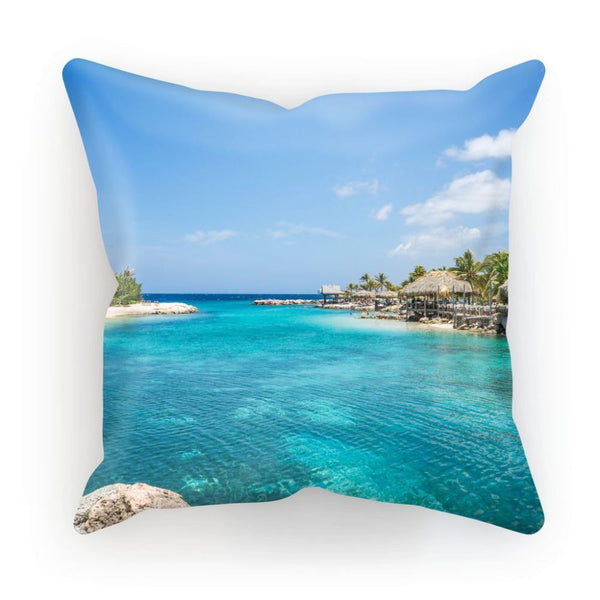 Blue Water Lake With Huts Cushion Linen / 12X12 Homeware