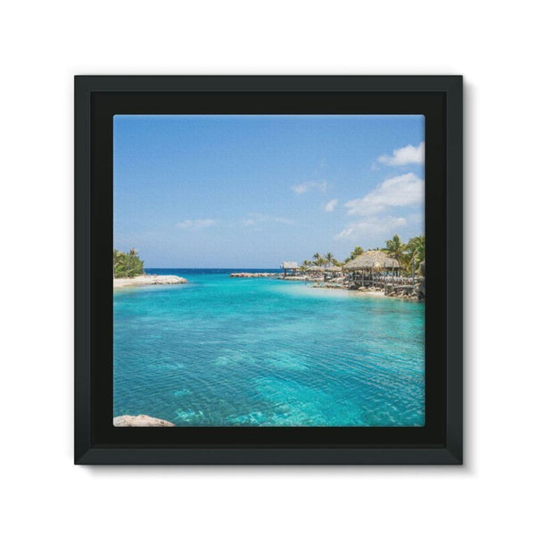 Blue Water Lake With Huts Framed Canvas 12X12 Wall Decor