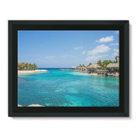 Blue Water Lake With Huts Framed Canvas 16X12 Wall Decor