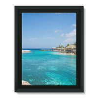 Blue Water Lake With Huts Framed Canvas 24X32 Wall Decor