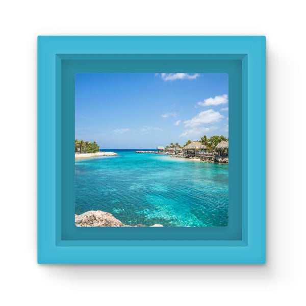Blue Water Lake With Huts Magnet Frame Light Homeware