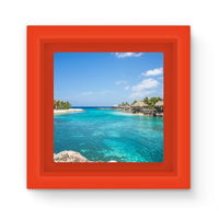 Blue Water Lake With Huts Magnet Frame Red Homeware