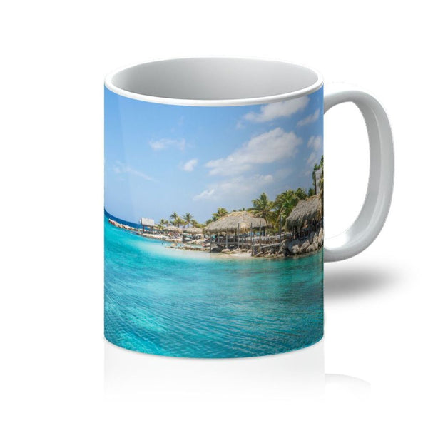 Blue Water Lake With Huts Mug 11Oz Homeware